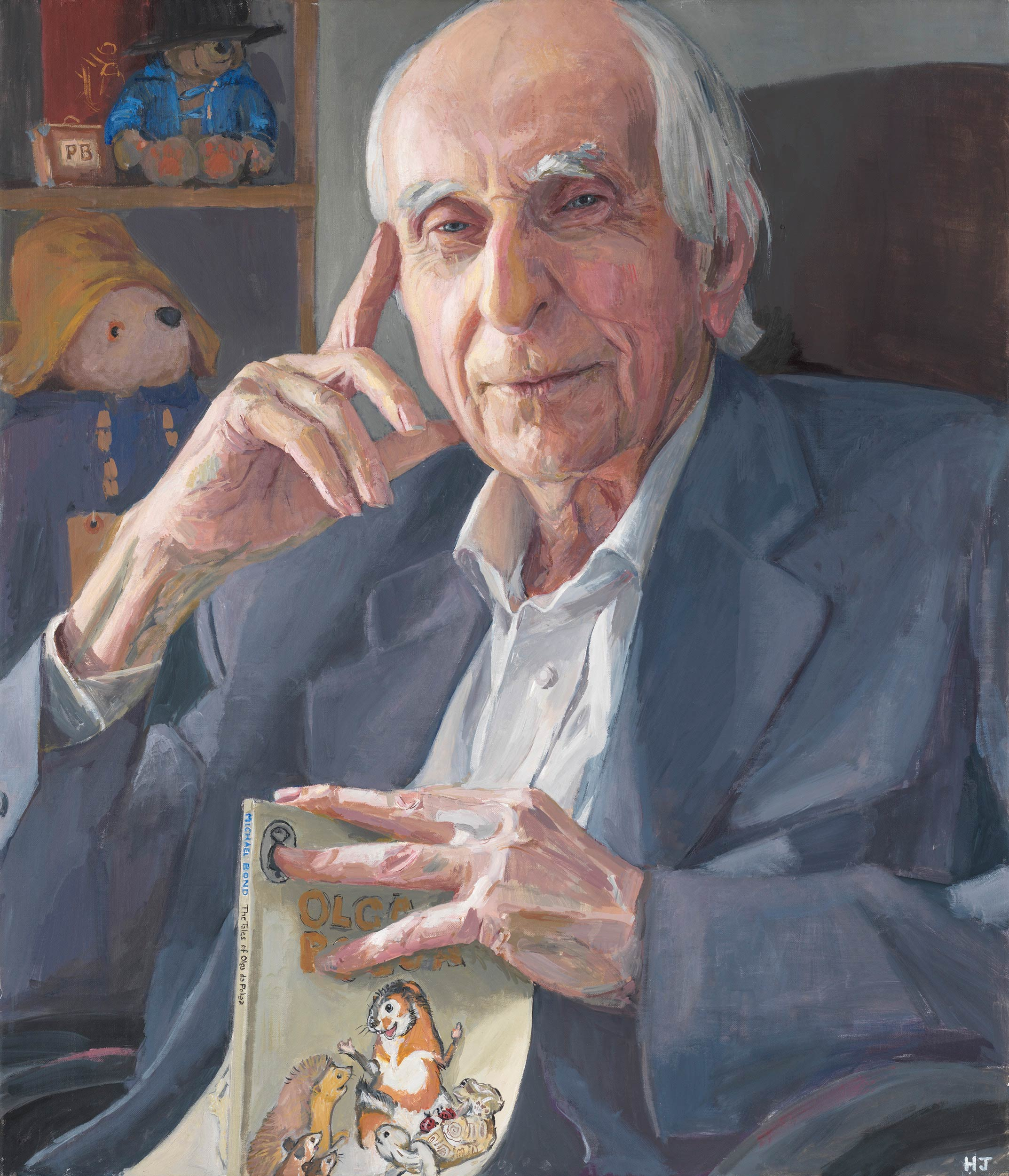Michael Bond, creator of Paddinton Bear, painted by Hero Johnson