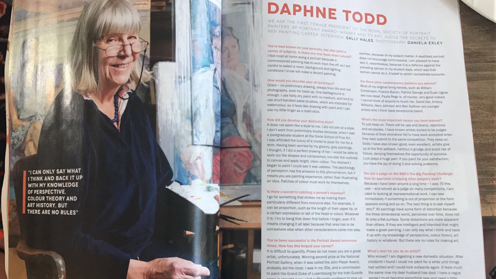 Interview with Daphne Todd in Artists & Illustrators magazine. By Sally Hales
