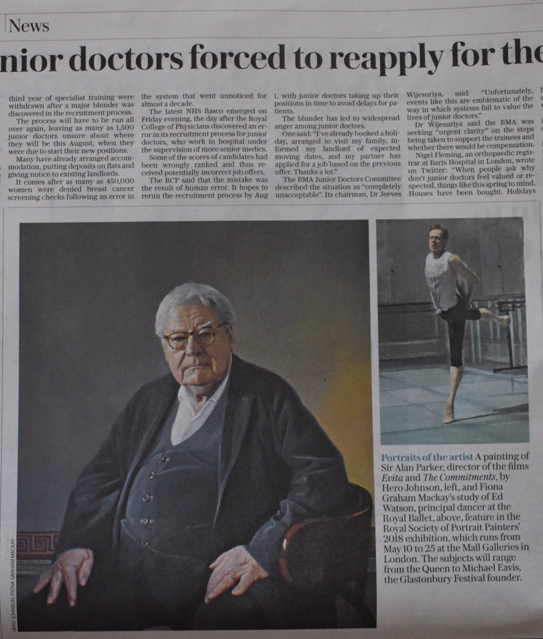 Hero Johnson's portrait of Sir Alan Parker in the Sunday Telegraph.