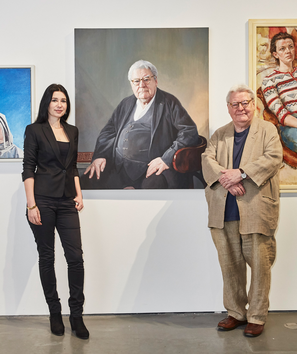 Hero Johnson and Sir Alan Parker. Royal Society of Portrait Painters exhibition 2018.