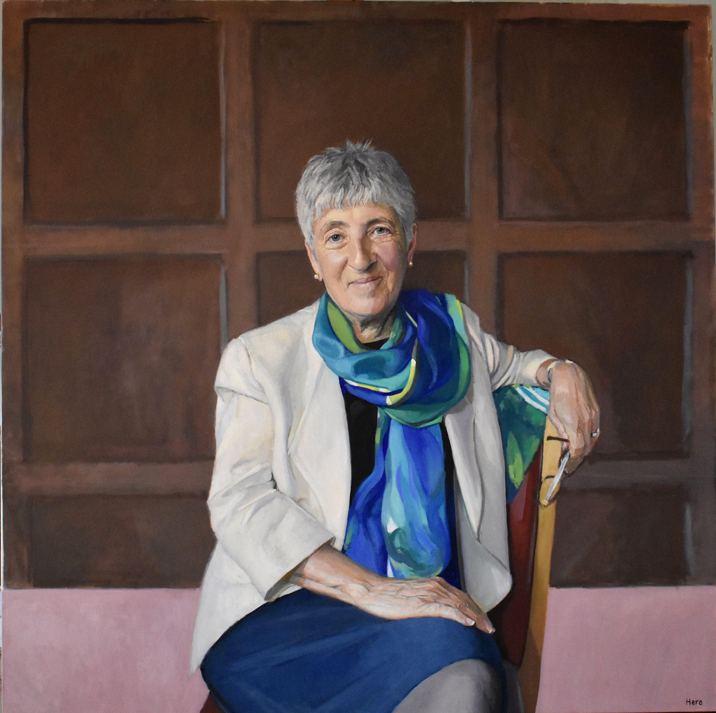 Dame Lynne Brindley's portrait by Hero Johnson