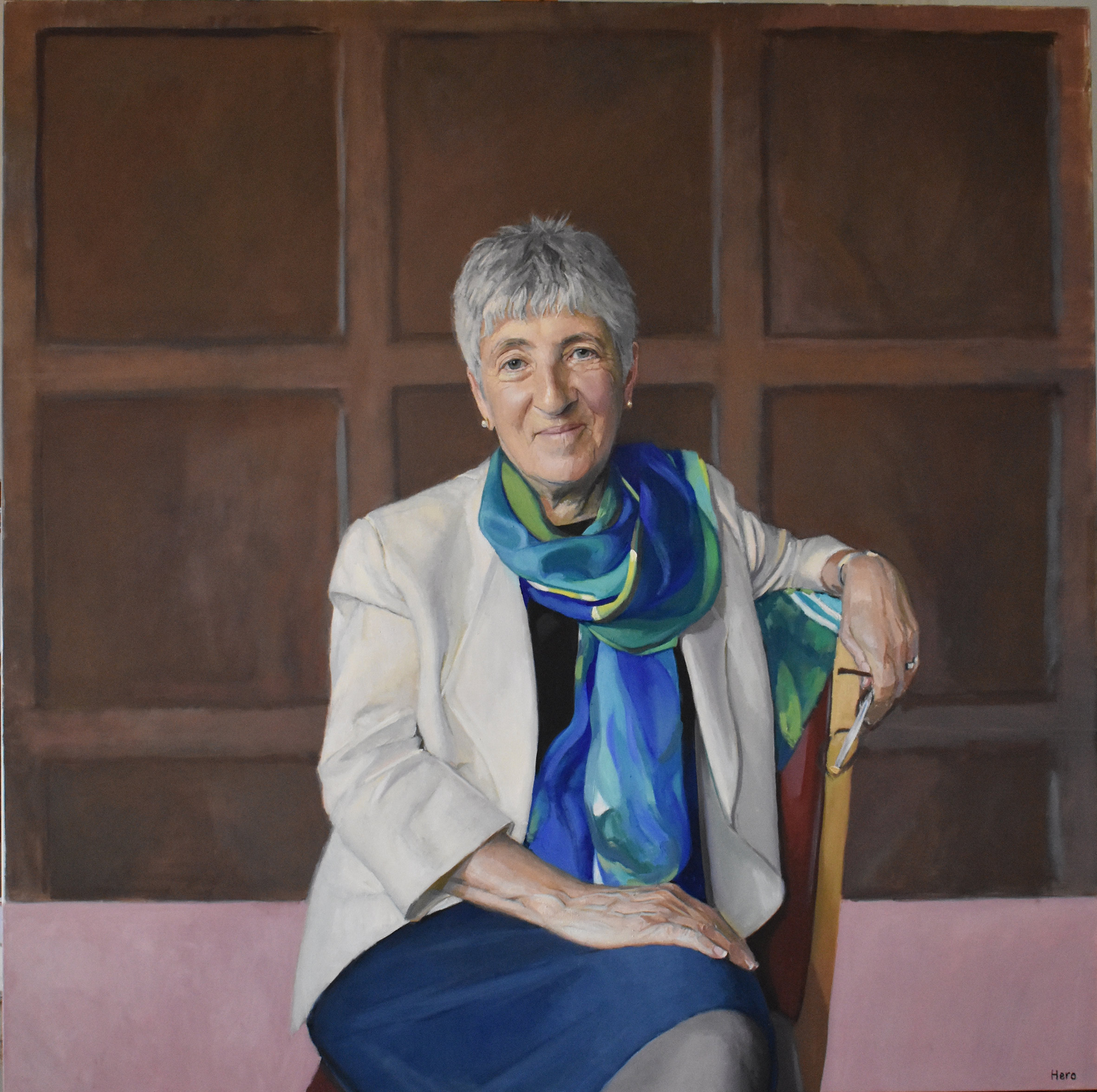 Lynne Brindley painted by Hero Johnson for Pembroke College, Oxford