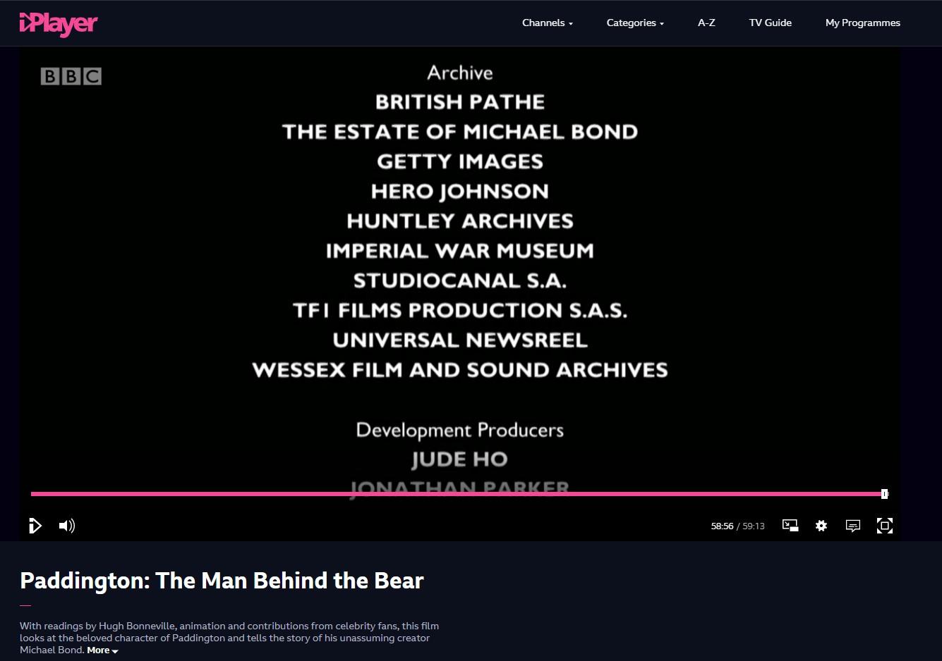 Hero Johnson credit, 'Paddington: The Man Behind the Bear'