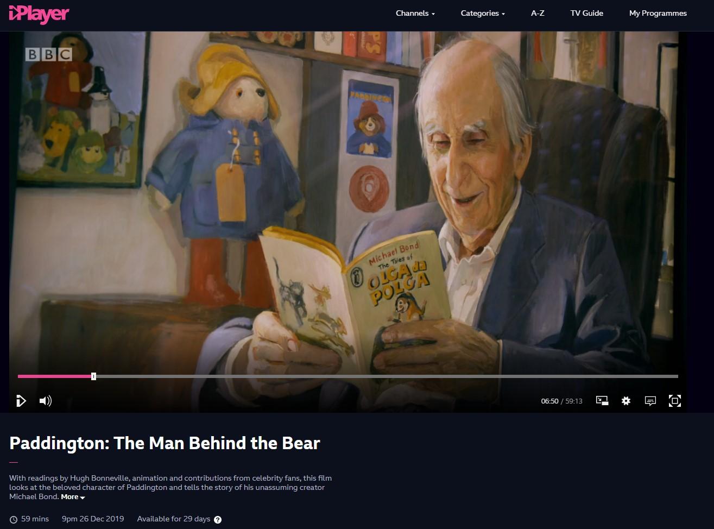 Hero Johnson's portrait of Michael Bond in BBC2's 'Paddington: The Man Behind the Bear'