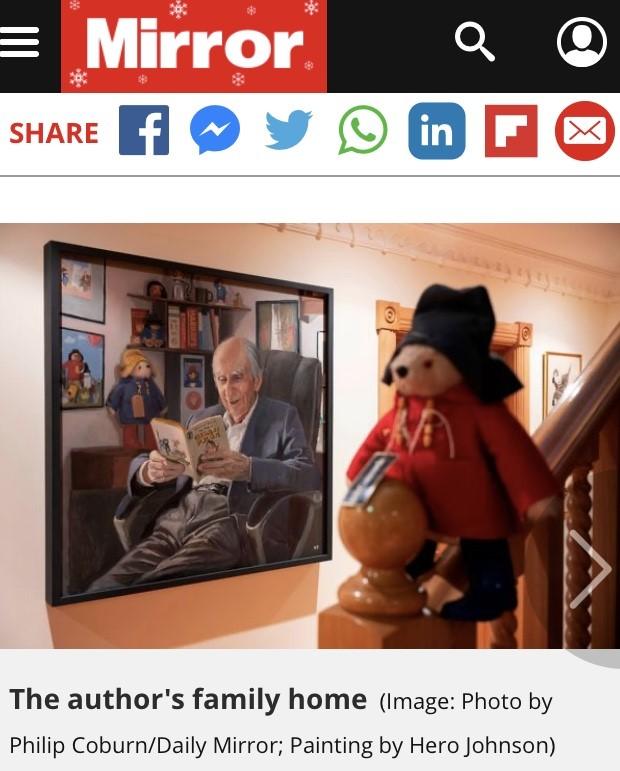 Hero Johnson's portrait of MIchael Bond in The MIrror Newspaper