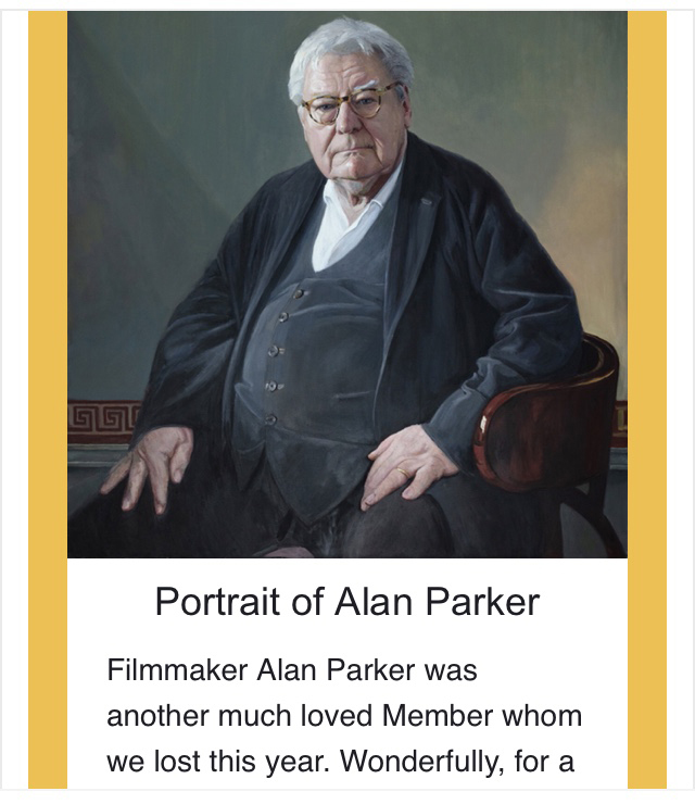 Hero Johnson's portrait of Sir Alan Parker at the Chelsea Arts Club